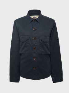 Pretty Green Cotton Button Through Overshirt - Black