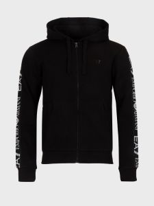 EA7 Emporio Armani Full Zip Tape Hooded Sweatshirt - Black