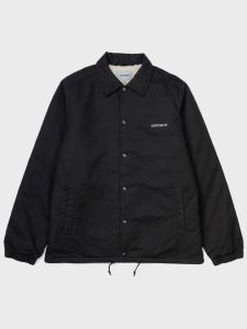Carhartt WIP Canvas Coach Jacket - Black / White Stone Washed