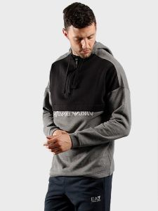 EA7 Emporio Armani Contrast Hooded Sweatshirt - Dark Grey Mel