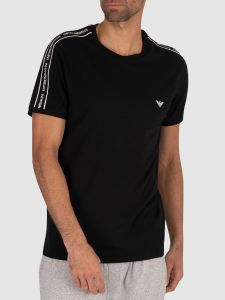 Emporio Armani Crew Neck Tape T Shirt - Black