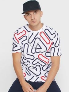Fila Klaus Outline AOP T-Shirt - White