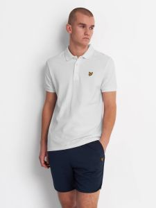 Lyle & Scott Fabric Mix Polo Shirt - White