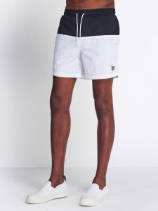 Lyle & Scott Half Split Swim Short - Jet Black / White