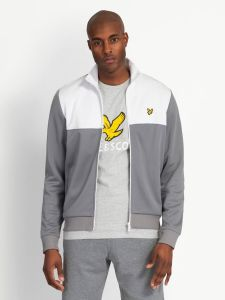 Lyle & Scott Yoke Stripe Funnel Neck Track Top - White / Grey