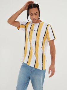 Nicce Mens Stripe T-Shirt - Apricot