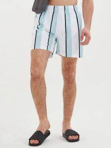 Nicce Stripe Swim Shorts - White / Sterling Blue