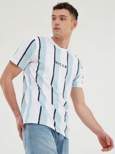 Nicce Stripe T-Shirt - Sterling Blue