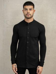 Nimes Mens Grandad Collar Long Sleeve Jersey Shirt - Black