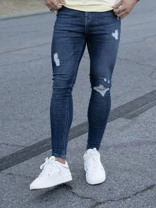 Nimes Mens Ripped & Repaired Skinny Jeans - Mid Night Blue