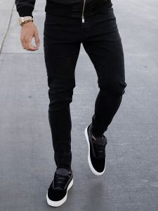 Nimes Non-Ripped Skinny Jeans - Black