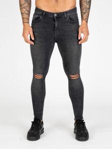 Nimes Ripped Knee Super Skinny Spray On Jeans - Grey