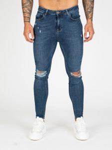 Nimes Super Skinny Ripped Knee Spray On Jeans - Midnight Blue