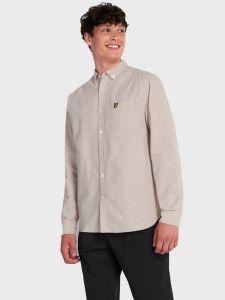 Lyle & Scott Light Weight Oxford Shirt - Sand Storm / White
