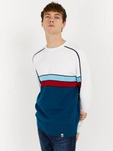 Pretty Green Albarn Contrast Panel Knitted Jumper - White