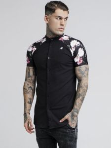 Sik Silk S/S Jeremy Oil Paint Grandad Collar Shirt - Black