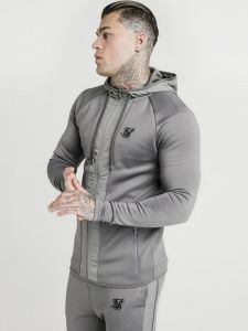 SikSilk Creased Nylon Zip Through Hoodie - Grey