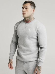 SikSilk Crew Sweatshirt - Grey Marl