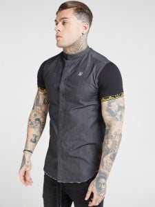SikSilk Denim Shirt - Black