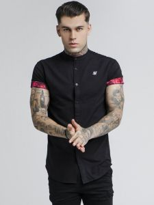 SikSilk Grandad Collar Roll Sleeve Shirt - Black