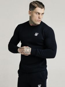 SikSilk Mens Crew Sweatshirt - Black