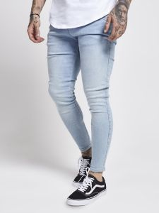 SikSilk Mens Skinny Denim Jeans - Light Blue