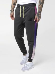 SikSilk Poly Cuffed Cropped Fade Panel Pants - Urban Grey / Neon Tri Fade