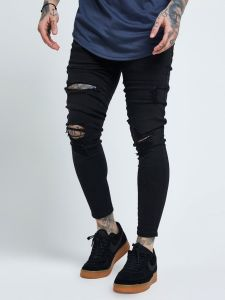 SikSilk Skinny Distressed Jeans - Black