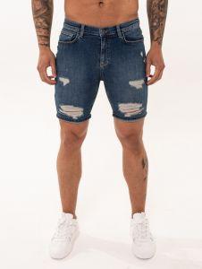 Nimes Denim Shorts Dark Blue Ripped & Repaired