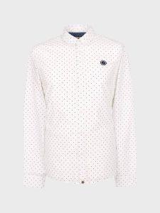 Pretty Green Horlock Slim Fit Polka Dot Shirt - White