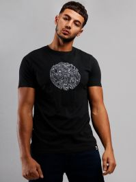 Pretty Green Navy Paisley Applique T-Shirt C9GMU15000106