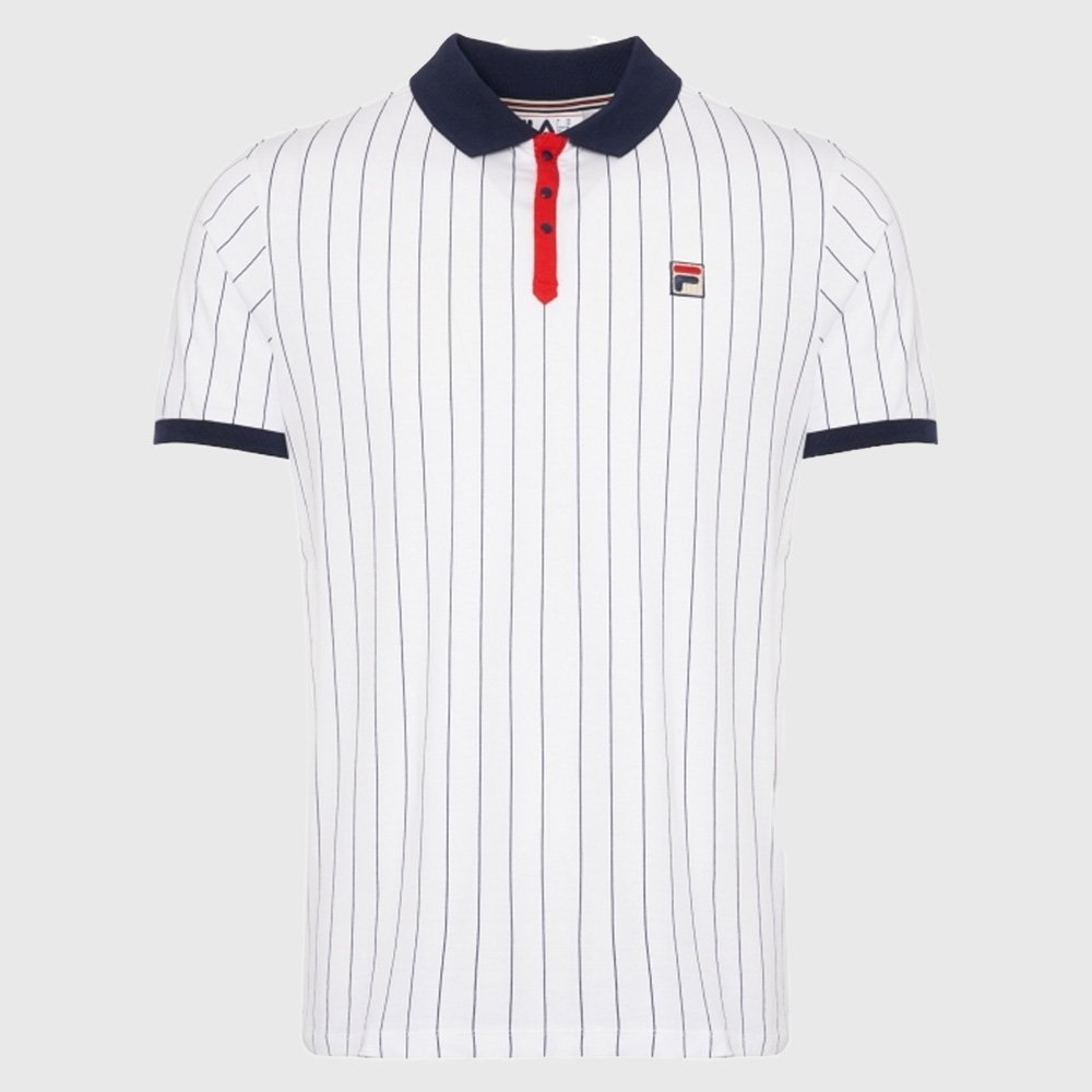 Details about Fila Vintage Mens BB1 Classic Striped Polo Shirt White